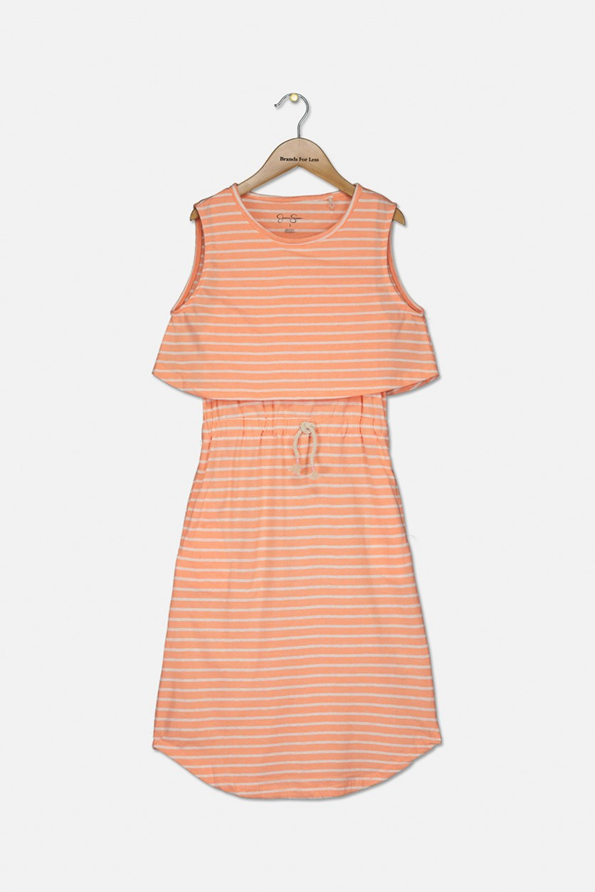 Big Girl's Stripes Sleeveless Dress, Neon Orange/White