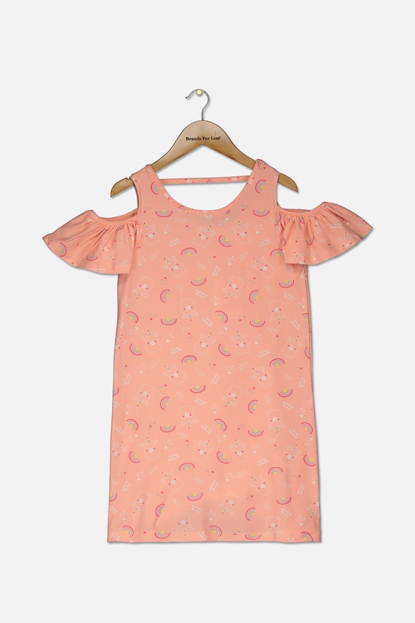 Kids Girl's Rainbow Dress, Peach  LLamacorns