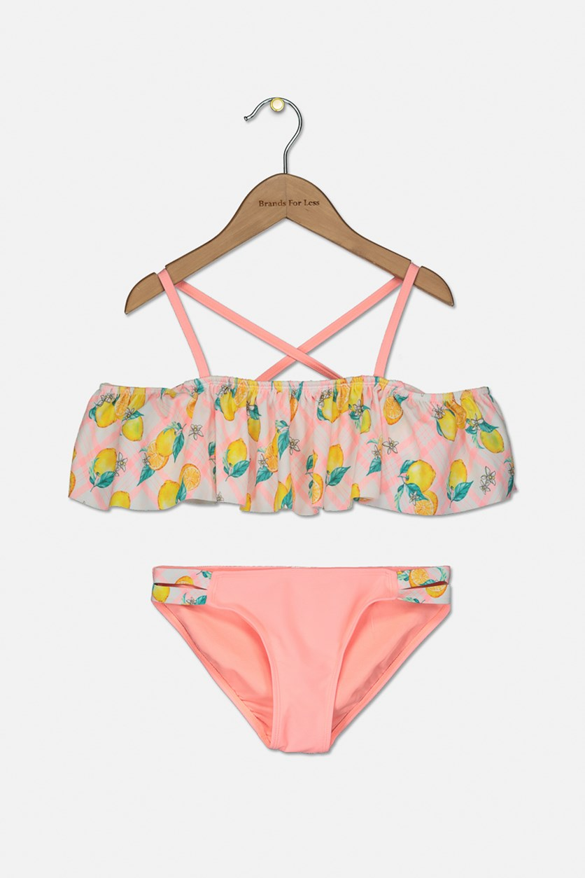 Big Girls 2-Pc. Ruffle Printed Bikini, Pink/Yellow