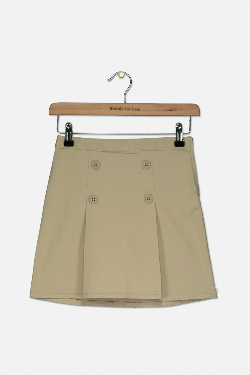 Girl's Button Front Skirt, Sandy