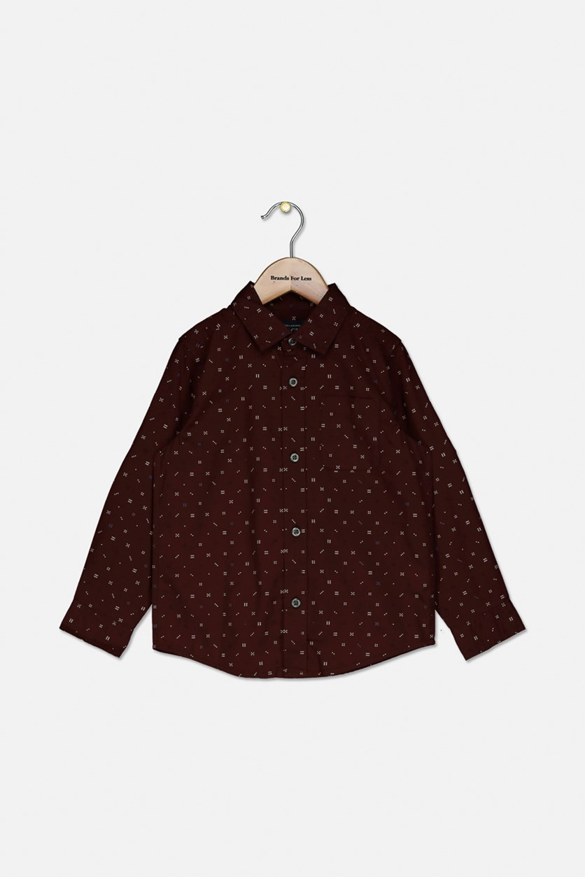 Toddler's Printed Button Down Shirt, Red Wood