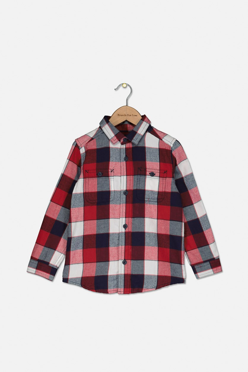Baby Boys Checkered Casual Shirt, Classic Red