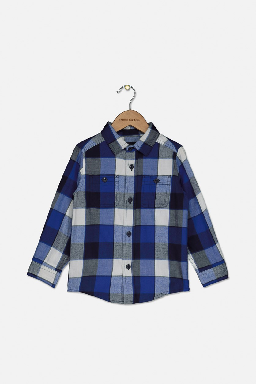 Baby Boy's Long Sleeve Plaid Casual Shirt, Renew Blue