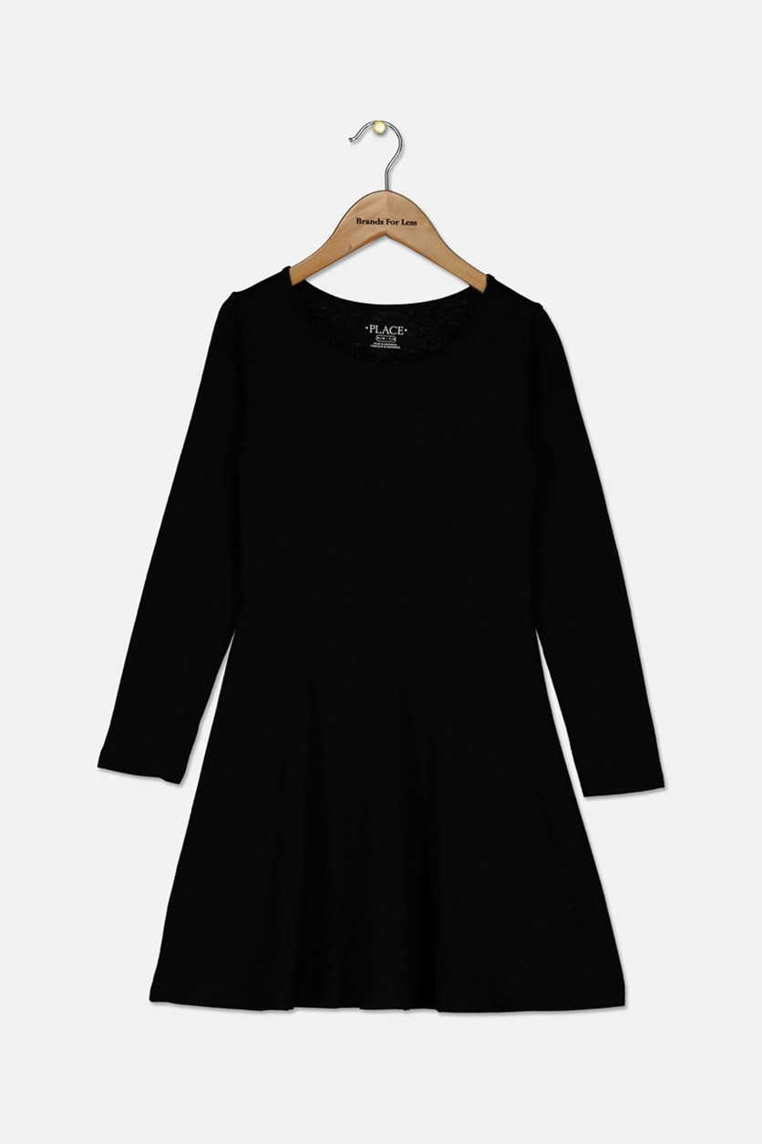 Girl's Long Sleeve Dress, Black