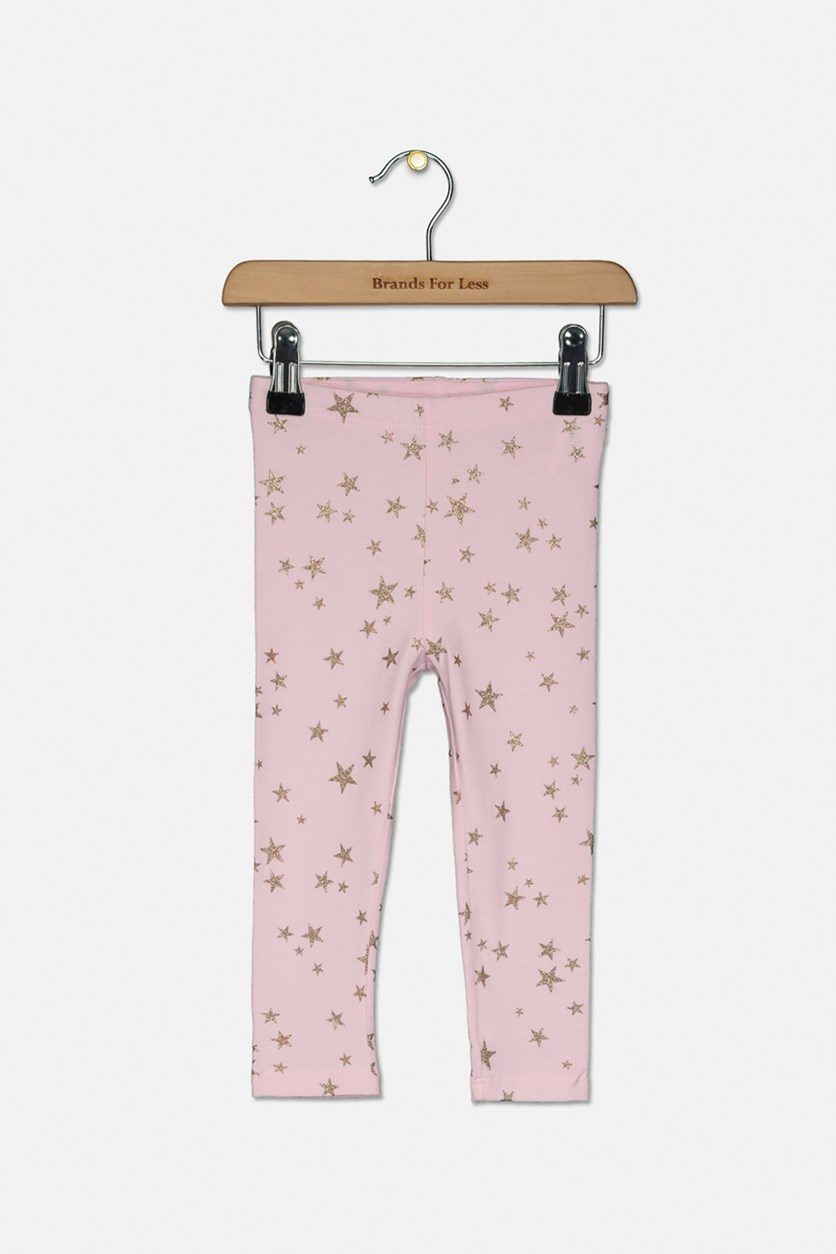 Toddlers Stars Graphic Print Leggings, Gold/Pink