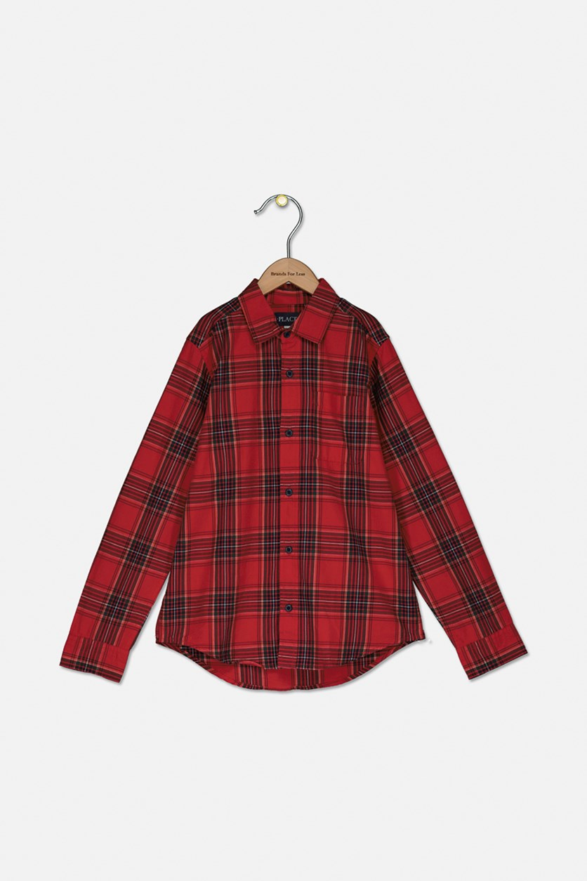 Boy's Plaid Button Down Shirt, Classic Red