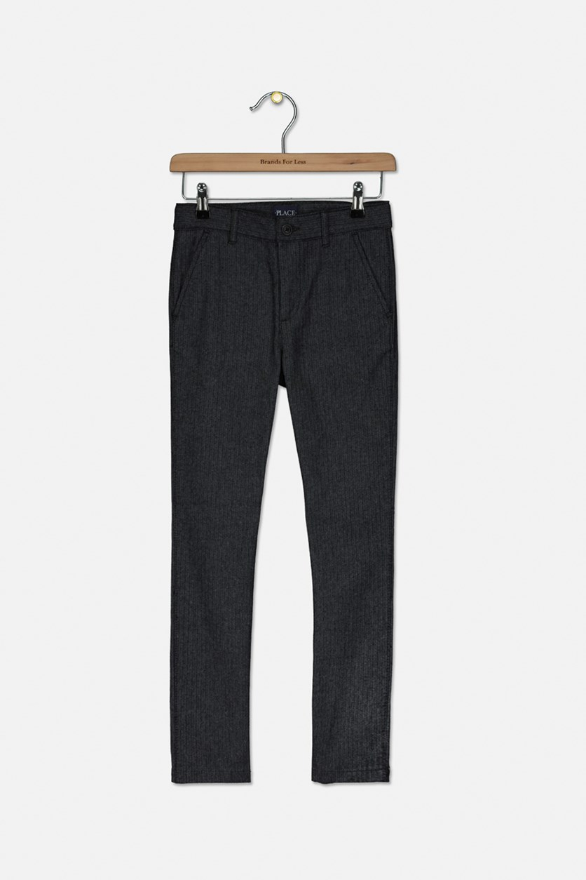Kids Boys Textured Pants, Black