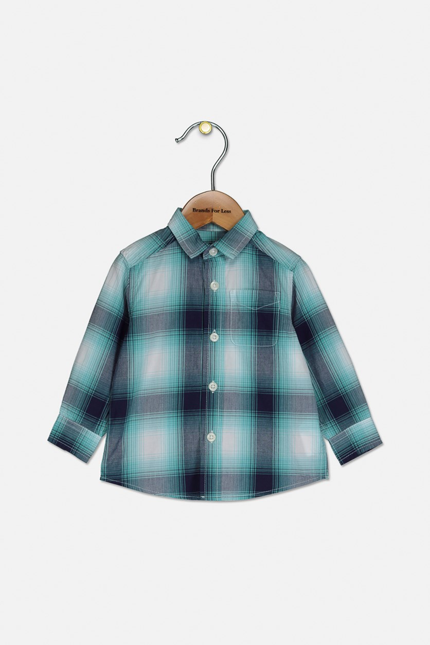 Little Boy's Plaid Button Down Shirt, Mellow Aqua