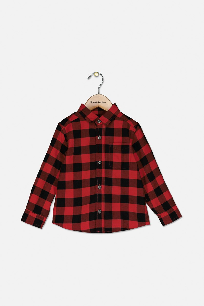 Baby Boys Plaid Long Sleeve Cacual Shirt, Red