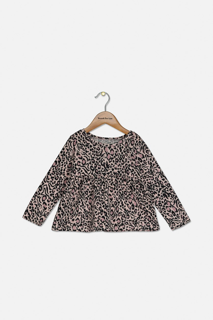 Baby Girls Allover Print Tops, Pink Tinger