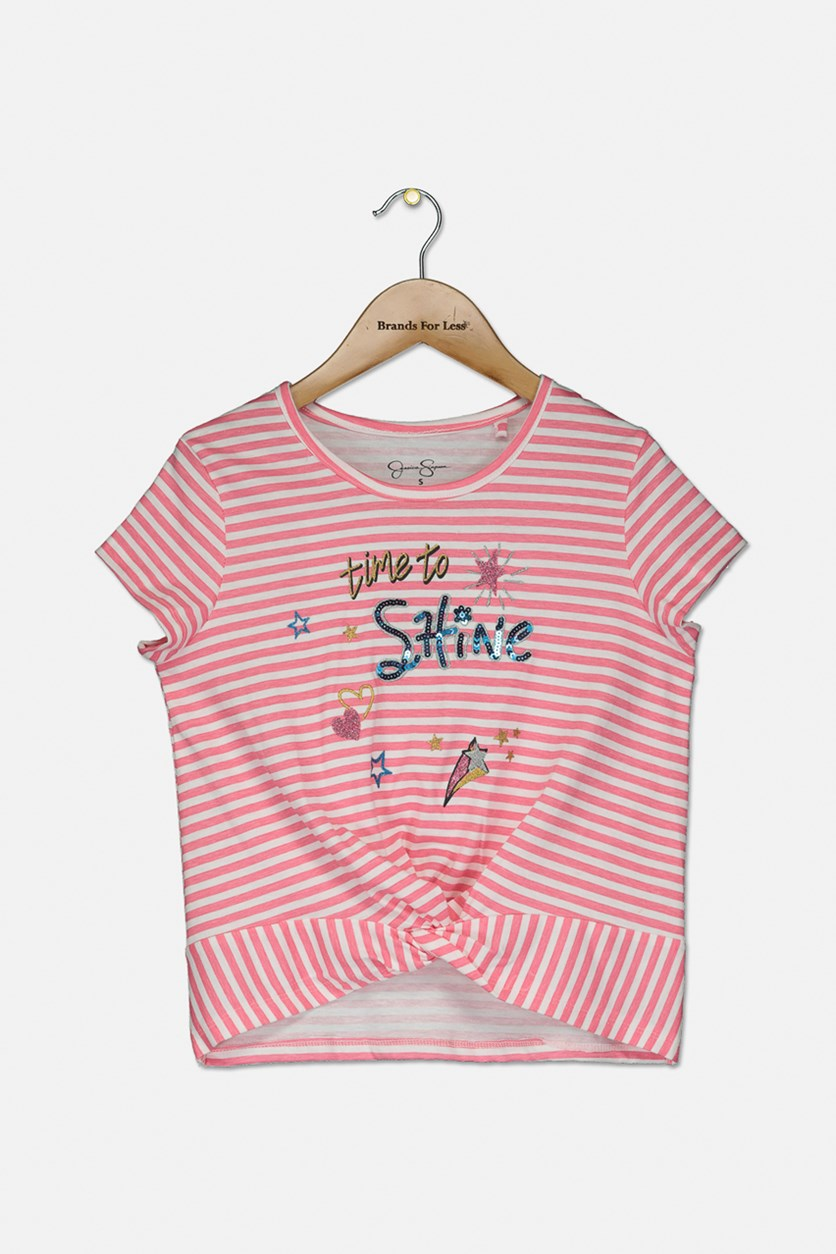 Kids Girls Striped Top, Pink/White