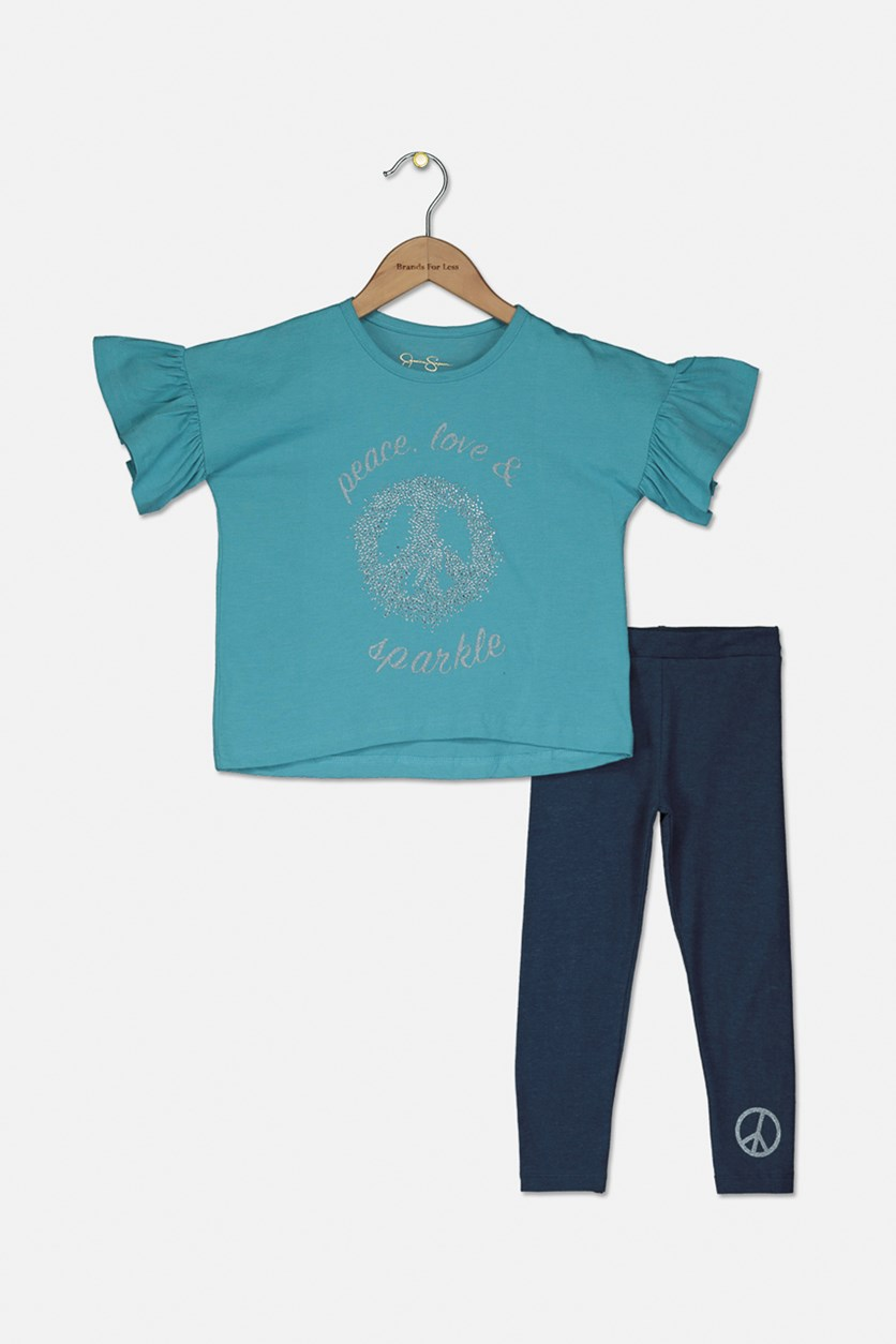 Toddlers Girls Peace, Love And Sparkle Set, Maui Blue