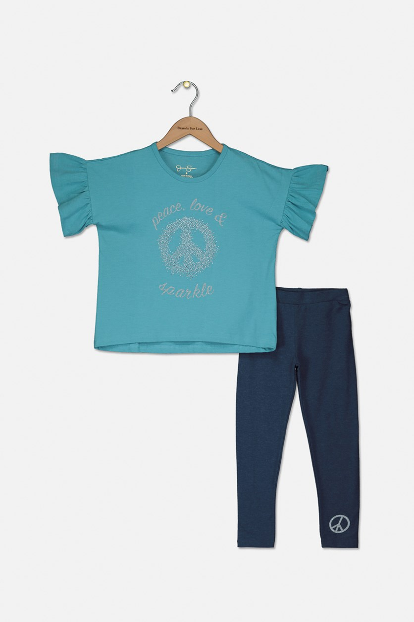 Kids Girls Peace, Love And Sparkle Set, Maui Blue