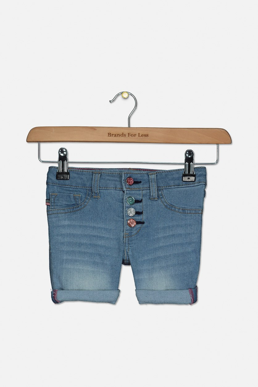 Toddler Wash Cuffed Denim Short, Larkspur Blue