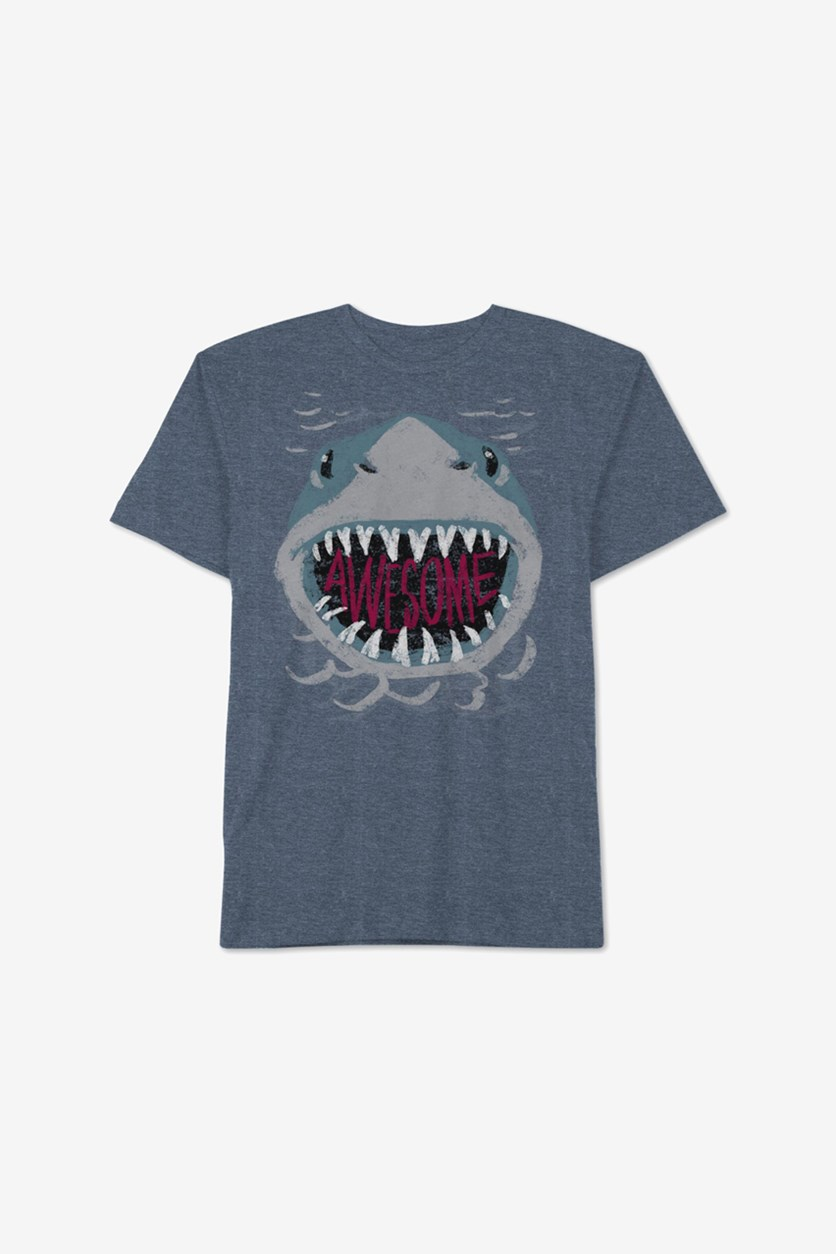Toddler Boys Awesome Shark T-Shirt, Navy Heather