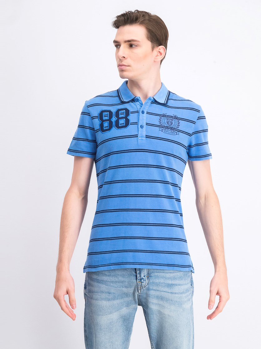 Men's 88 Embroidered Stripe Polo Shirt, Blue Navy