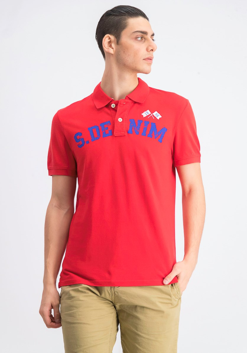Men's Graphic Print Polo Shirt, Red/Blue