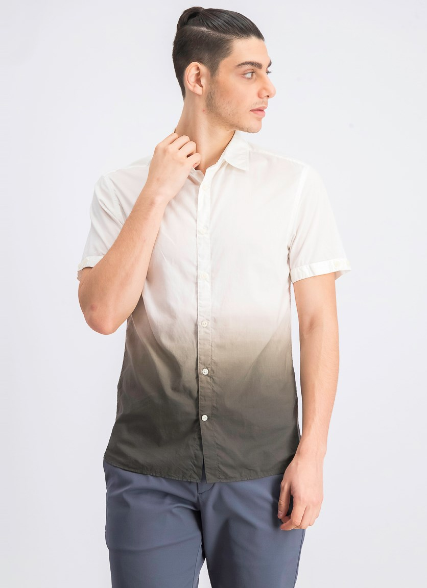 Men's Colorblock Short Sleeve Casual Shirt, Ivory/Brown