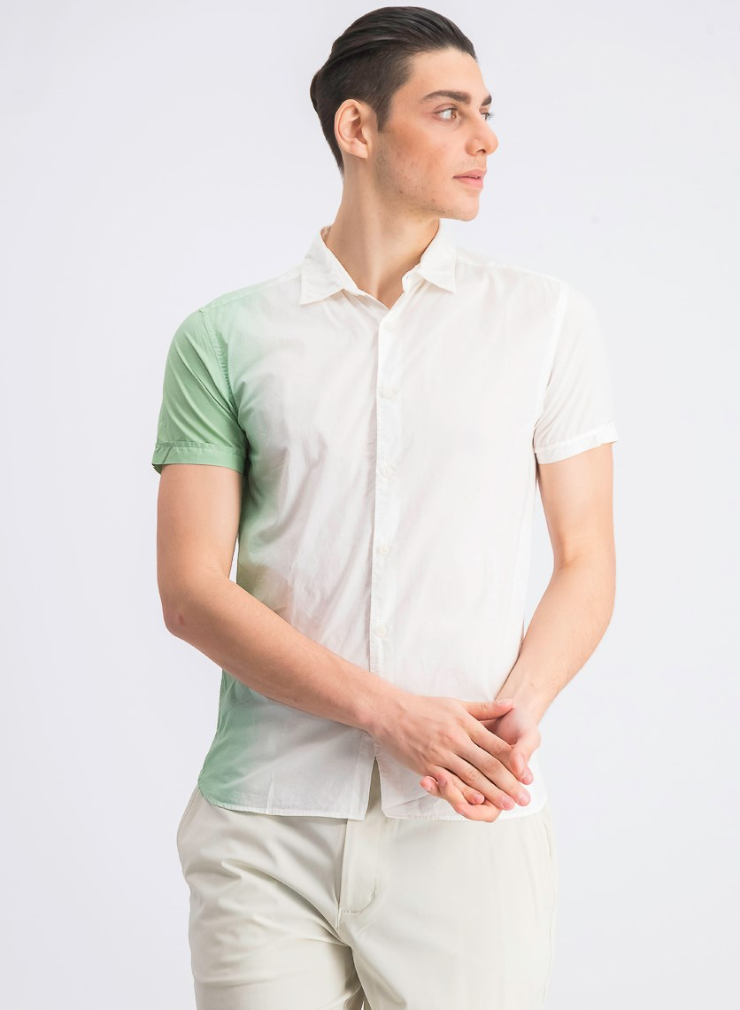 Men's Slim Fit Colorblock Casual Shirt, Green/Ivory