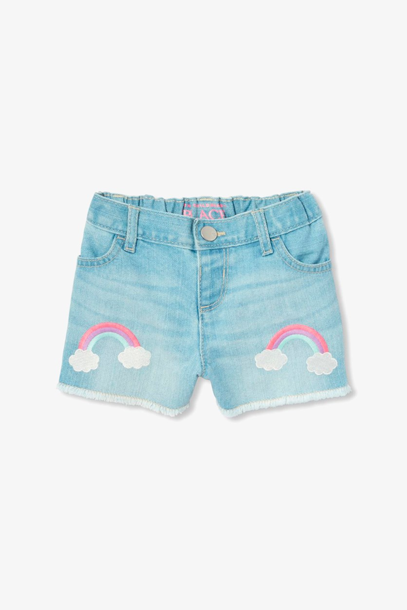 Baby Girls Embroidered Short, Light Linda Wash