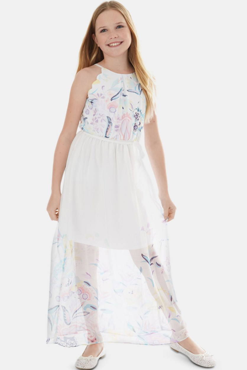 Big Girls Printed Maxi Dress, White Combo