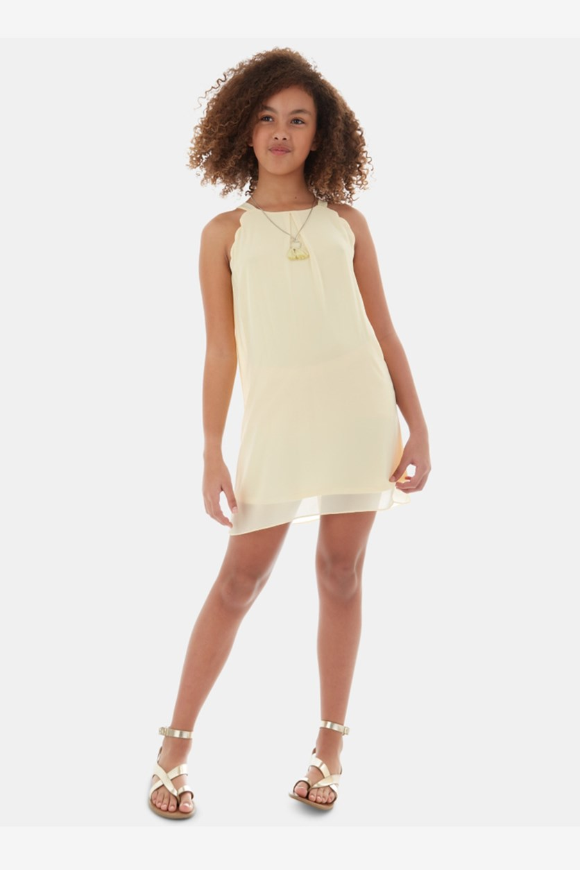 Girls 2-Pc. Scalloped Dress & Necklace Set, Yellow