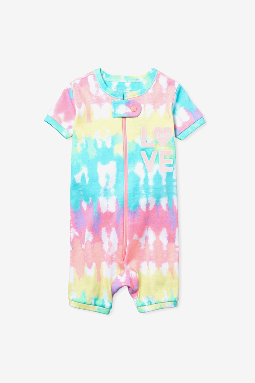 Toddlers Girls Romper, Pink/Turquoise