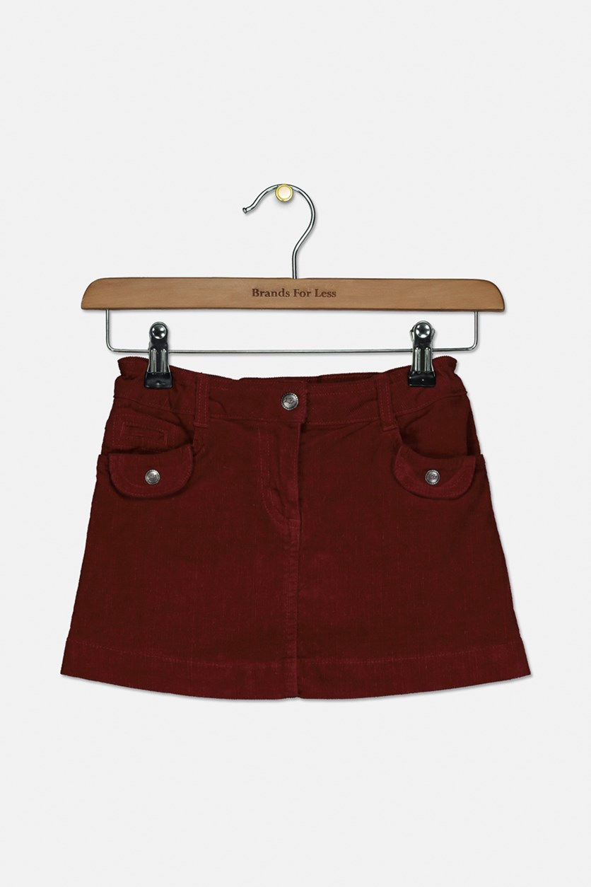 Toddler Girls Curdoroy Skirt, Burgundy