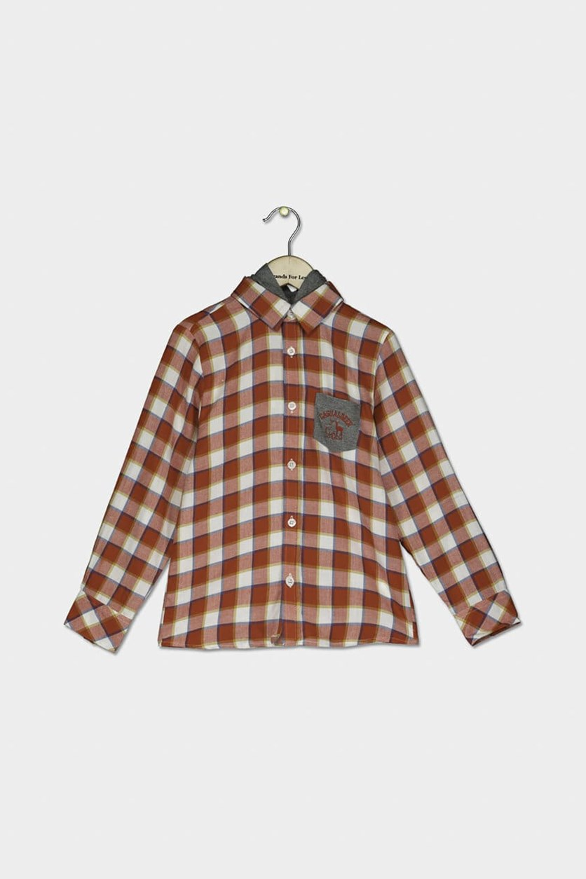 Baby Boys Casual Plaid Long Sleeves Shirt, Red