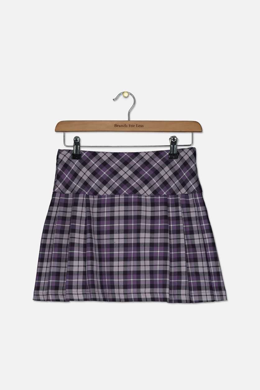 Kids Girls Pleated Skirt, Purple Combo
