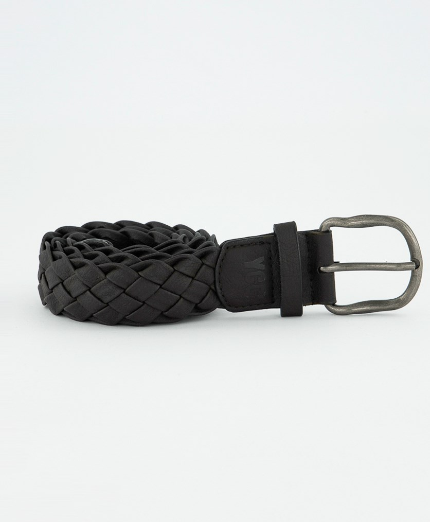Kids Boys Braid Belt, Dark Brown