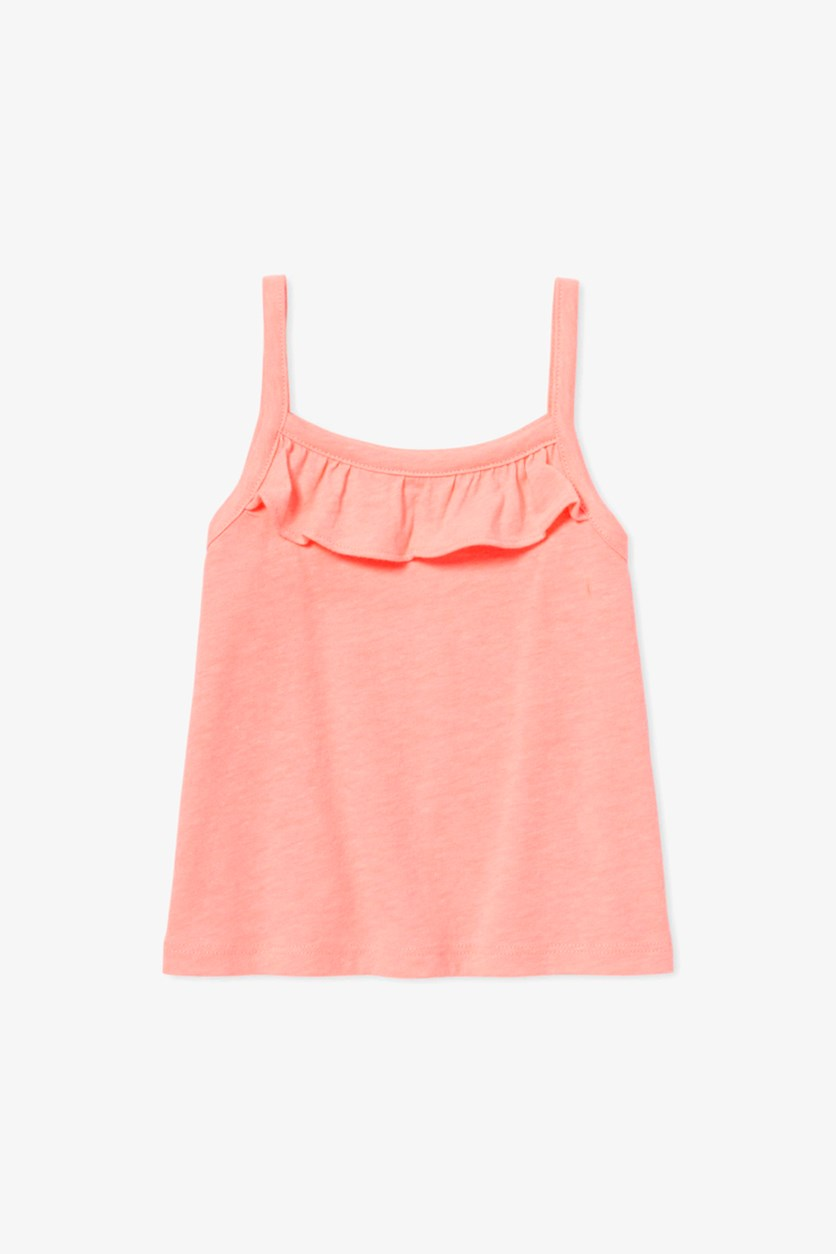 Toddler's Ruffle Tank Top, Neon Blossom