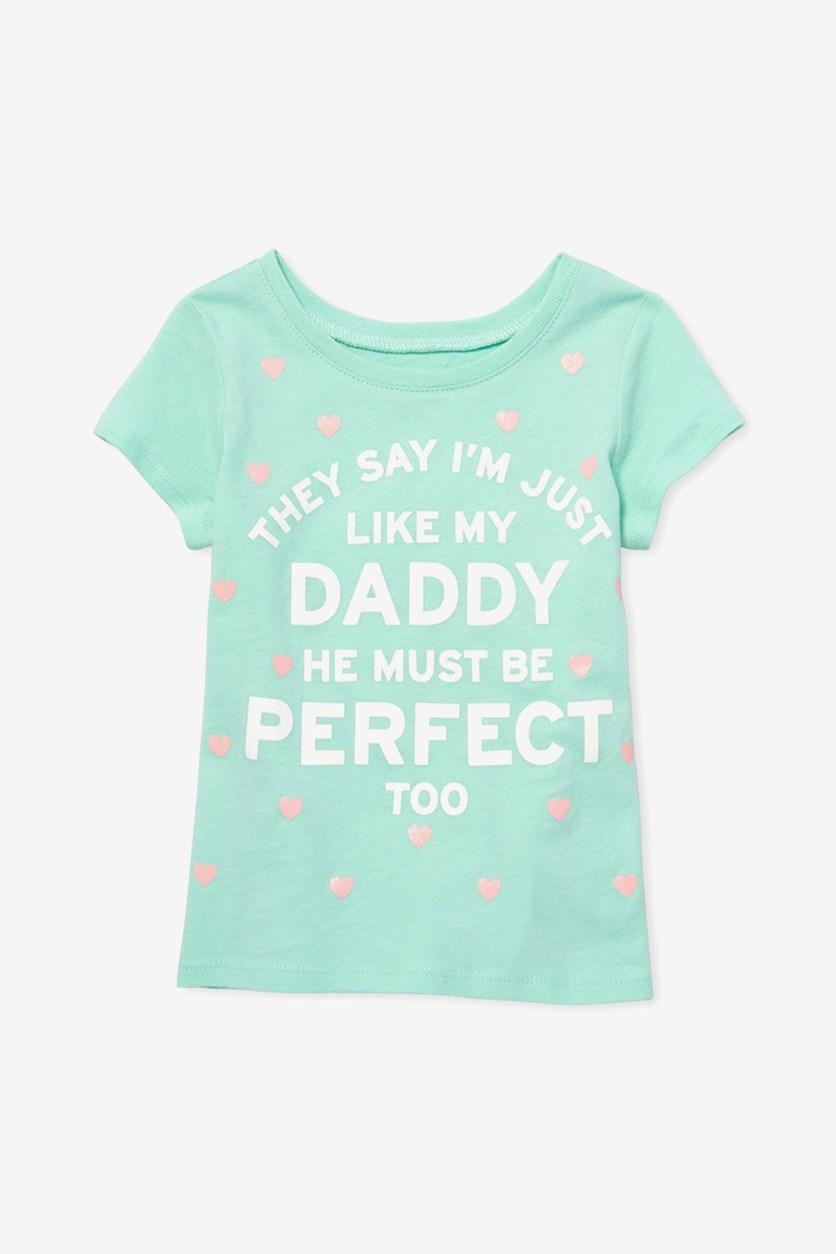 Toddlers Girls Graphic Tops, Mint