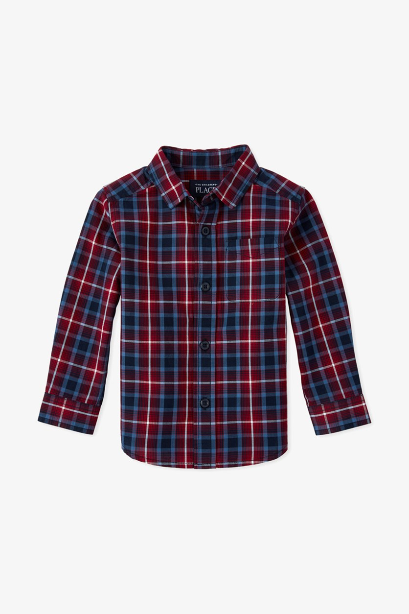 Toddler Boys Plaid Poplin Button Down Shirt, Navy/Red