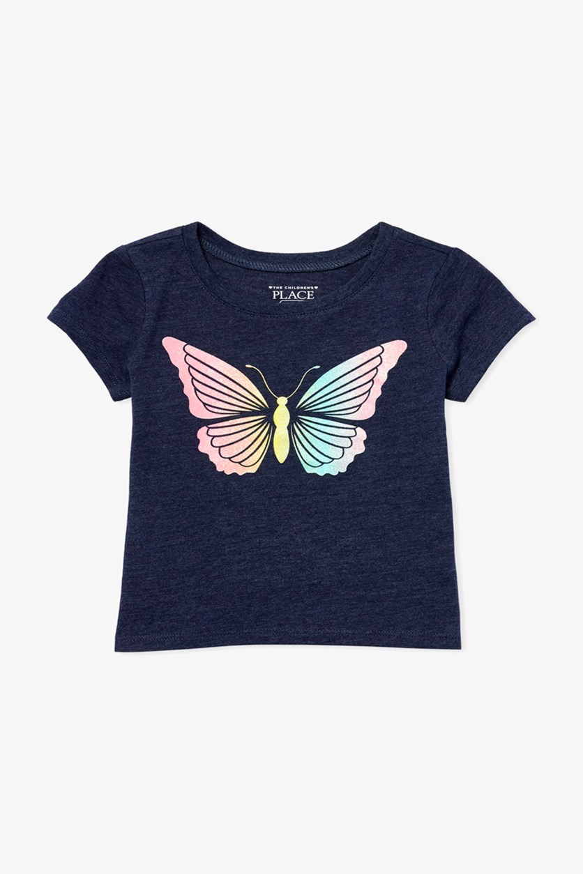 Toddler's Butterfly Print Top, Evening Blue