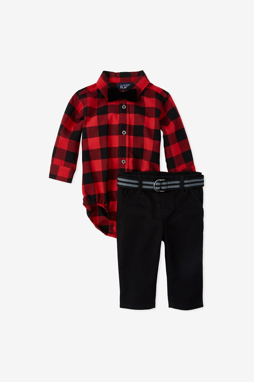 Baby Boys Buffalo Plaid Matching Outfit Set, Classic Red