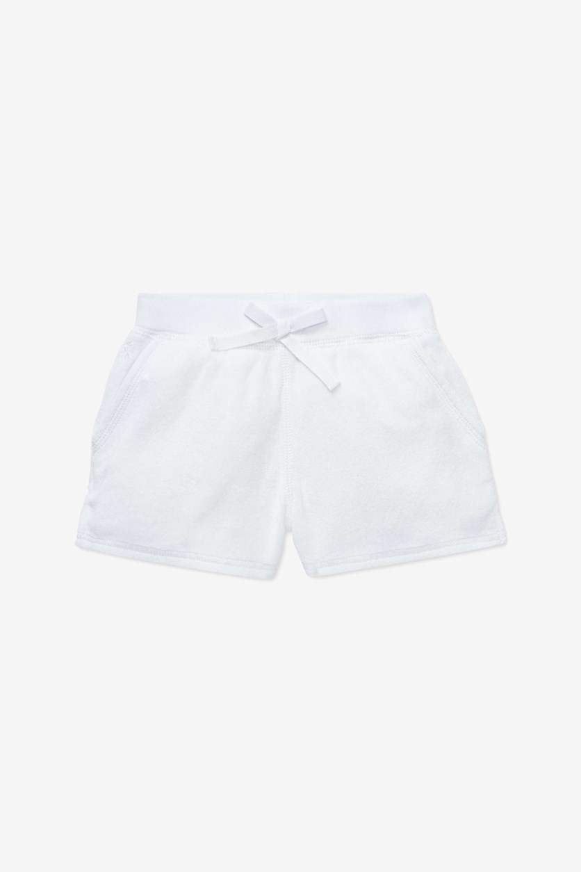 Girls' Drawstring Terry Short, White