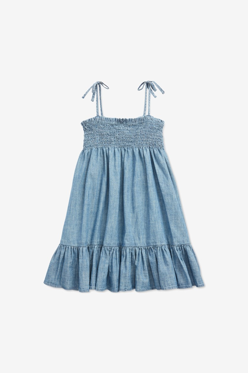 Girls Tie Sleeve Cotton Dress, Chambray