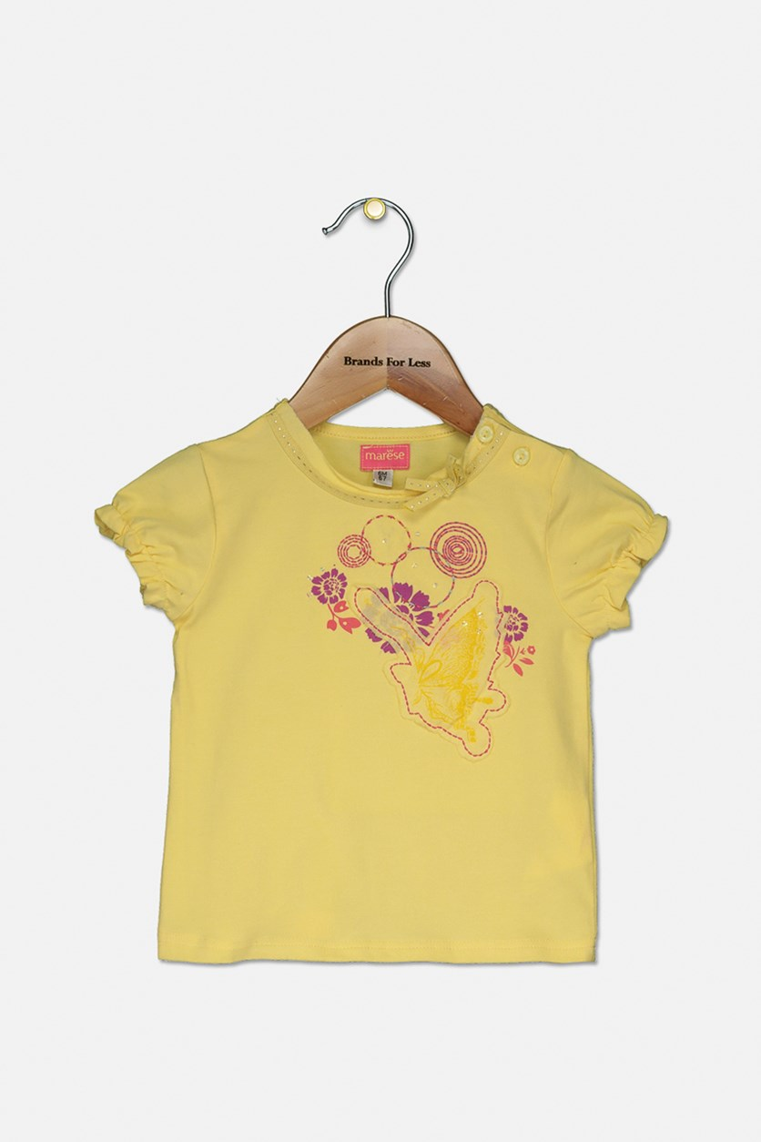 Baby Girl Embroidered Top, Yellow