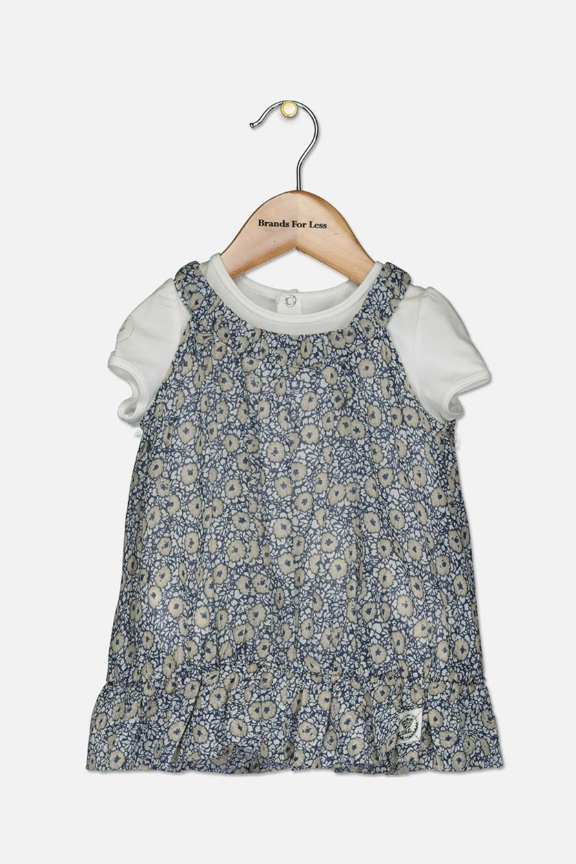 Baby Girls Floral Print Top, White/Blue