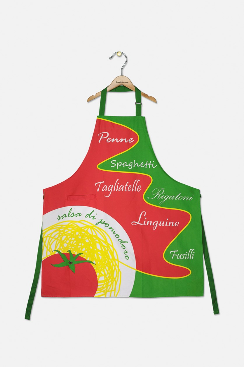 Apron With Pocket, Green/Red/White Combo