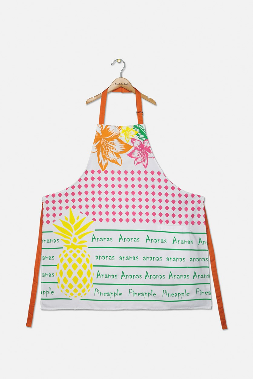Tropic Fruits Apron With Pocket, White Combo