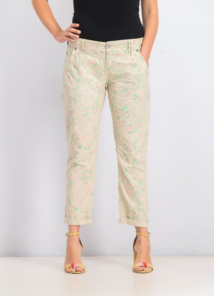 Women's Floral Pants, Cream/Green