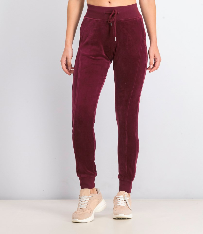 Velour Fitted Track Pants, Tawny Port