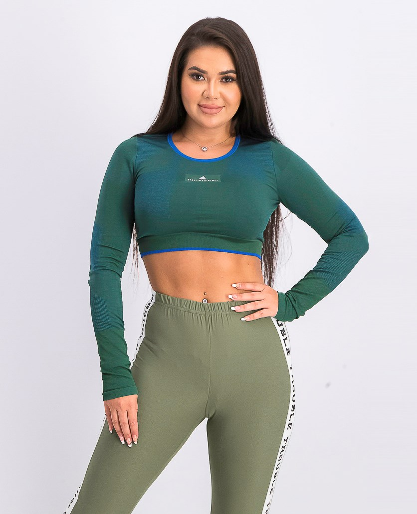 Women's Train Seamless Block Top, Dark Green