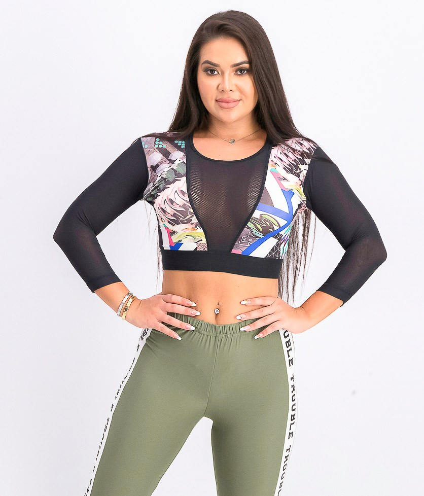 Women's Cropped Compression Tops, Black Combo