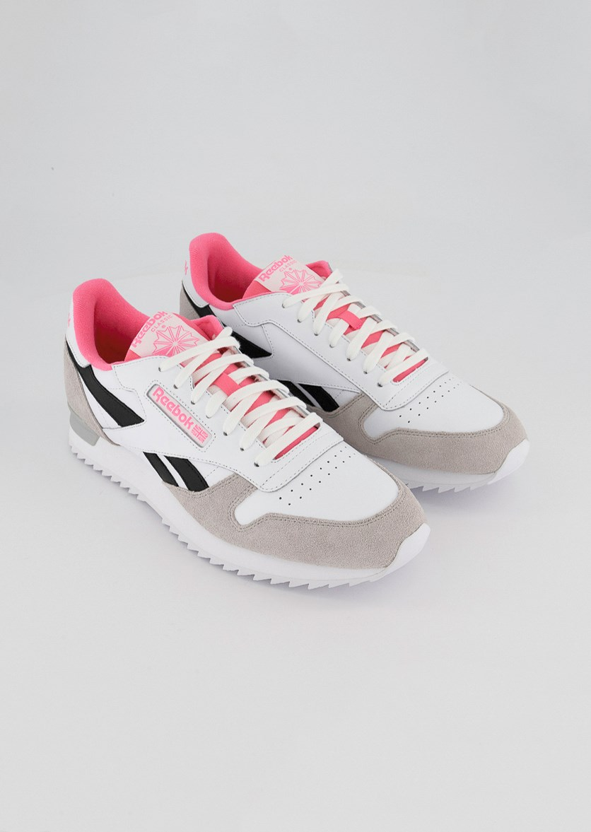 Men's Leather Ripple Clip Trainer Shoes, White/Skull Grey/Pink