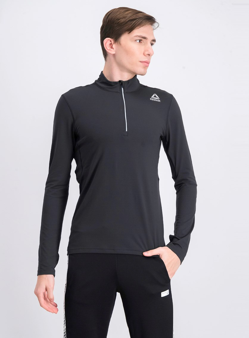 Mens Long Sleeve Thermowarm Quarter Zip, Black