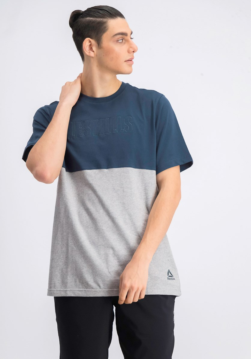 Les Mills Contrast Panel T-Shirt, Teal Blue/Grey