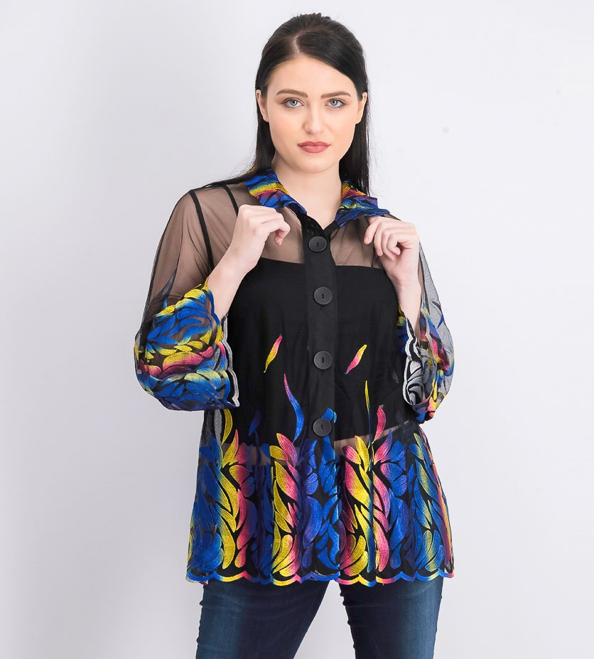 Women's Embroidered Button Down Top, Black Combo